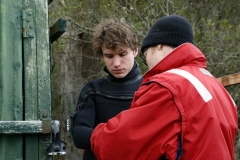 Callan (Nicholas Denton) suits up to go diving, with the assistance of Fraser Johnston, underwater man extraordinaire (cinematographer).