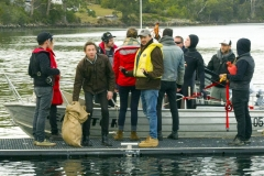 """Nicolas meets the crayfish (a la """"where's Wally""""), with Michael Leonard (Director and Writer) and Giovanni, the boat crew and handy hot waterbottle."""