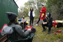 The back stage crew keeping warming drinks and waterbottles charged– Gokce Sel (Producer), Sara Galoua (Arts Assistant), Michelle Boyde (Costumes) and Tess Edwards (Gaffer).