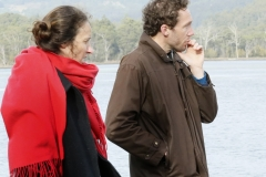 Elisa Pascarel (First Assistant Director) looking on with Michael Leonard (Director, Writer).