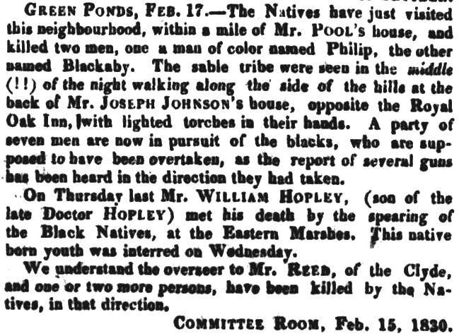 Extract from the  Colonial Times, 19th February 1830, p. 3.